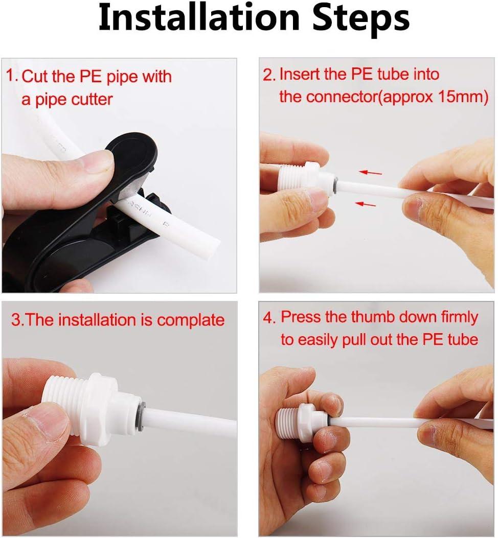 conectores de tubo para manguera de tubo de /ósmosis inversa conexi/ón r/ápida Sourcingmap macho BSP a 1//4 pulgadas OD recto 10 unidades Tubo de purificadores de agua 1//2