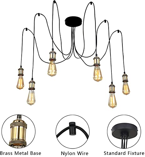 Karmiqi Spider Pendant Lighting with Vintage Edison Style Bulbs, Brass E26 Base, Adjustable DIY 6 Arms Farmhouse Chandeliers for Dining Room Living Room Bedroom