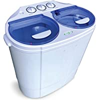 Garatic Portable Compact Mini Twin Tub Washing Machine w/Wash and Spin Cycle, Built-in Gravity Drain, 13lbs Capacity For…