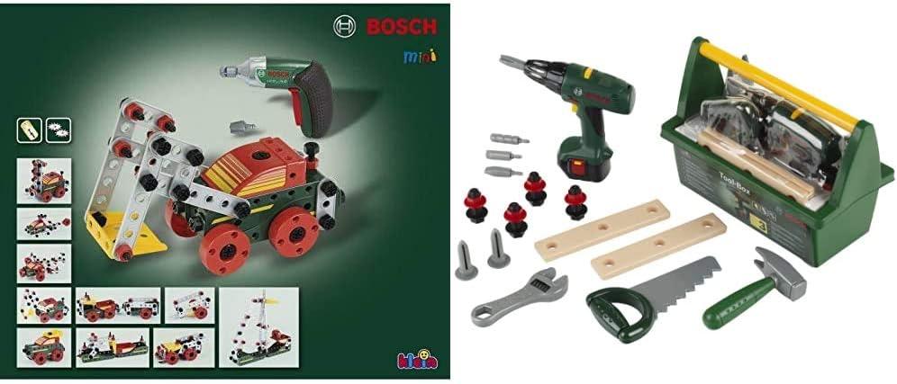 Theo Klein 8497 Set de construcción Multi-Tech con Ixolino Bosch, 107 Piezas + 8429 Caja de Herramientas Bosch, con Sierra, Martillo