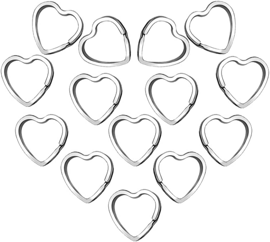 50Pcs Heart Shaped Split Key Rings,Crafts DIY Keychain Metal Key Rings for Home Car Office Organization,Arts & Crafts Projects, Lanyards
