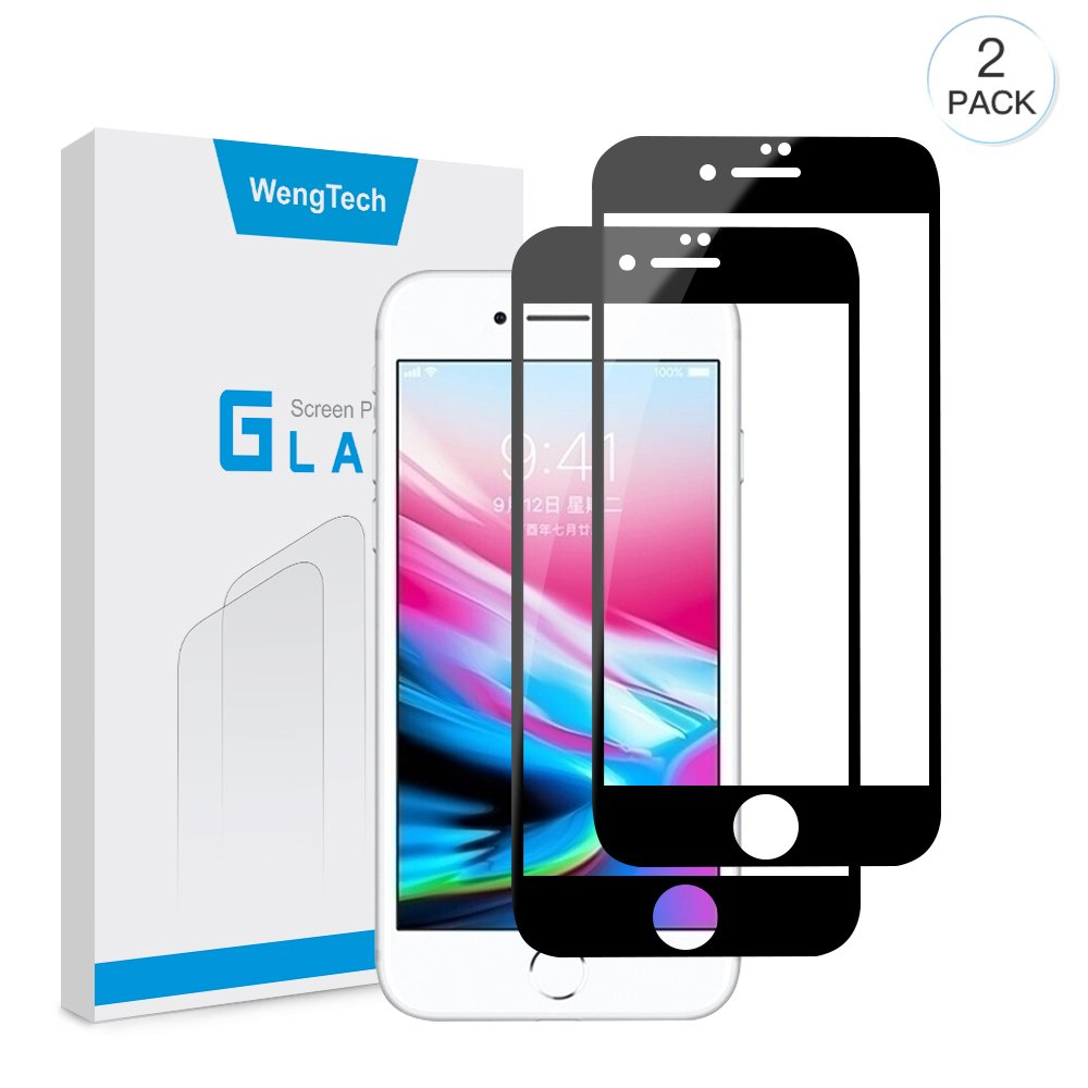 iPhone 7/iPhone 8 Screen Protector, WengTech Full Coverage 9H Hardness Bubble Free Anti-Fingerprint Ultra-clear Tempered Glass Screen Protector Film for iPhone 7/iPhone 8 4.7 inch, Black (2 Pack)