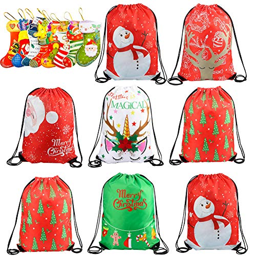 8 Pack New Year Drawstring Gift Bags Kids Party Favors Bags Gift Pack Gym Drawstring Sports Bags Candy Bags Santa Claus Unicorn Snowman Backpack for Kids