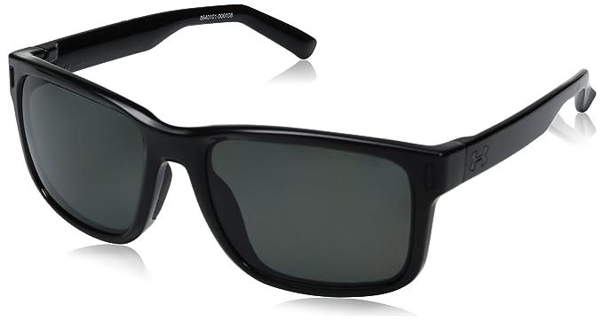 2d184d5b70ae Amazon.com: Under Armour UA Assist Square Sunglasses, UA Assist Storm Shiny  Black / Black Frame / Gray Polarized Lens, M/L: Clothing