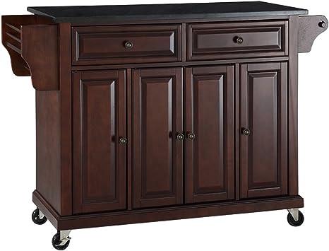 Crosley Furniture Rolling Kitchen Island With Solid Black Granite Top Vintage Mahogany Amazon Ca Home Kitchen