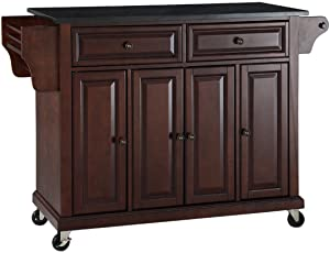 Crosley Furniture Rolling Kitchen Island with Solid Black Granite Top - Vintage Mahogany