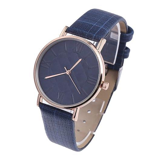 Ballylelly Exquisita Mujer Reloj de Pulsera Movimiento de Cuarzo Dial Redondo PU Pulsera de Cuero Clásico Popular Casual Reloj Diario (Azul Real): ...