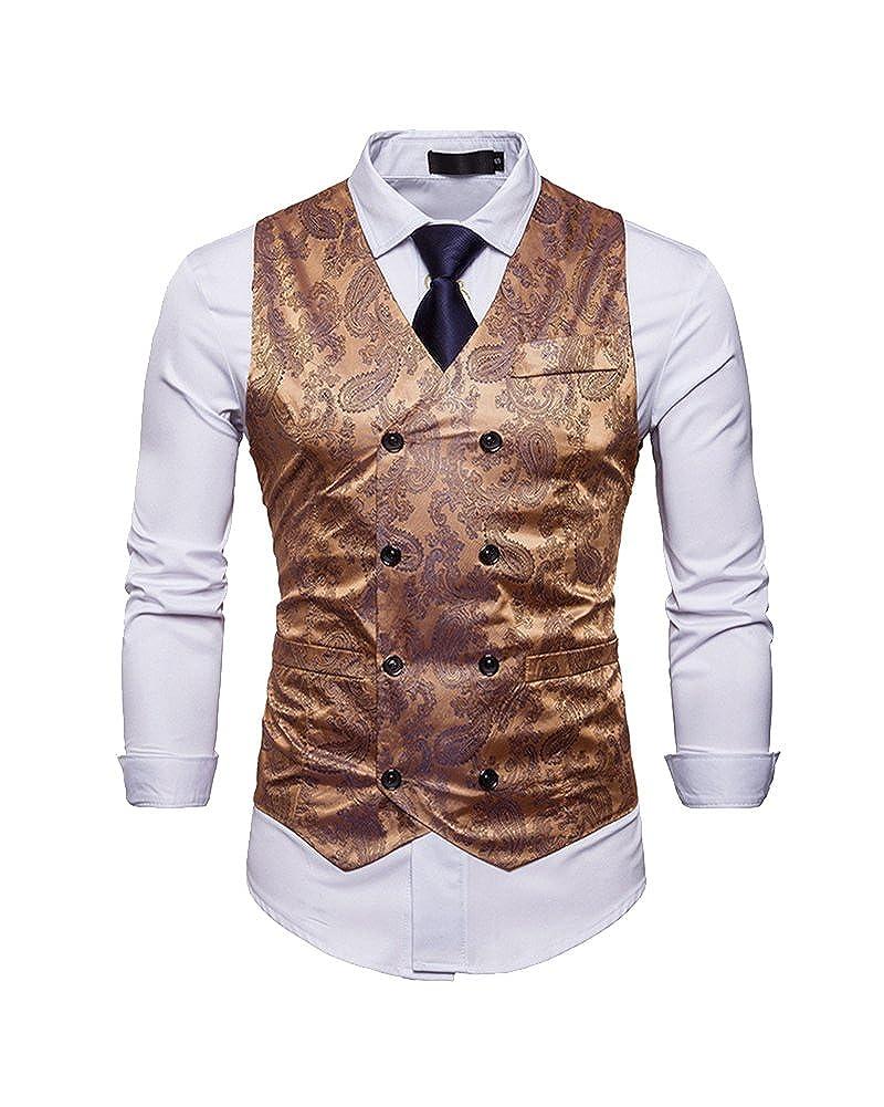 Gilet De Costume Homme Double Boutonnage Veste sans Manche Business Mariage