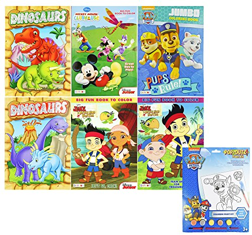 Bendon Set of 6 Masculine Themed Coloring Books W/1 Paw Patrol Pack of Water Color Utensils - Coloring Books 10.75