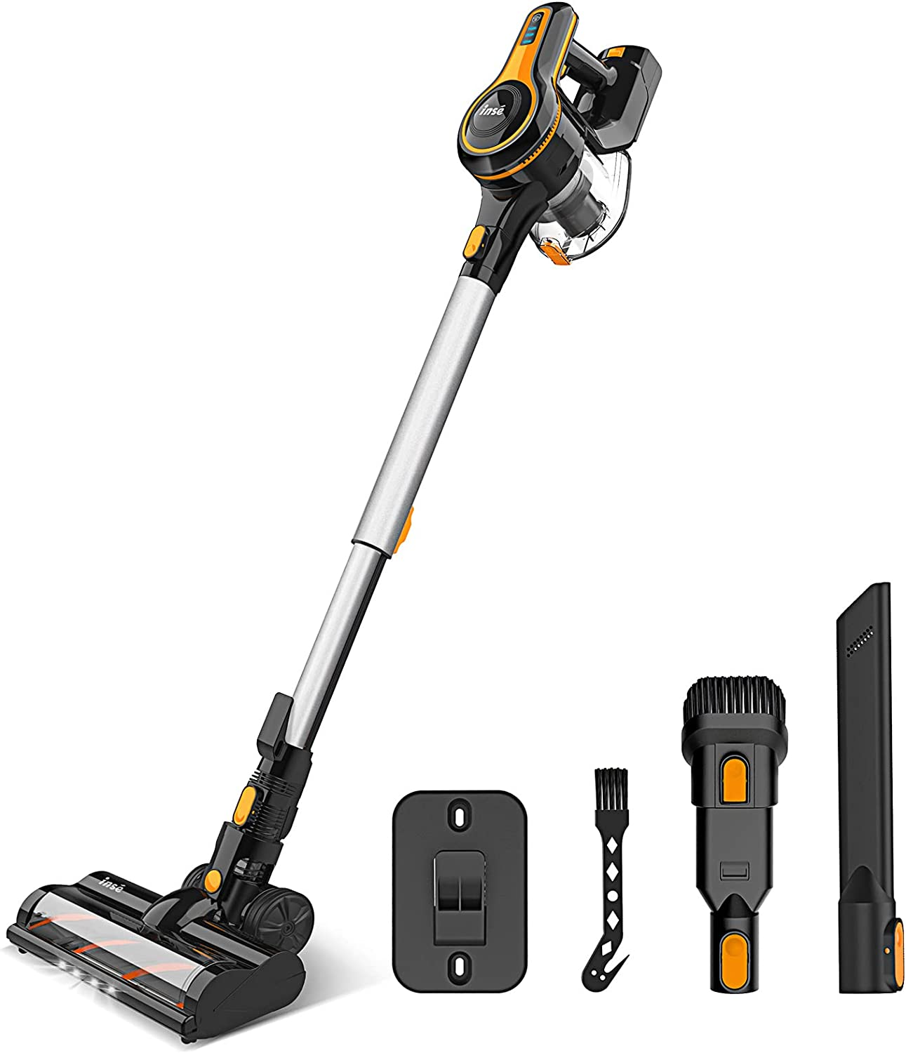 Cordless Vacuum Cleaner, 23Kpa Strong Suction Stick Vacuum with 45min Max Long Runtime Detachable Battery, Extra Large Dustbin, Powerful Brushless Motor, Ultra Quiet Lightweight - INSE S600