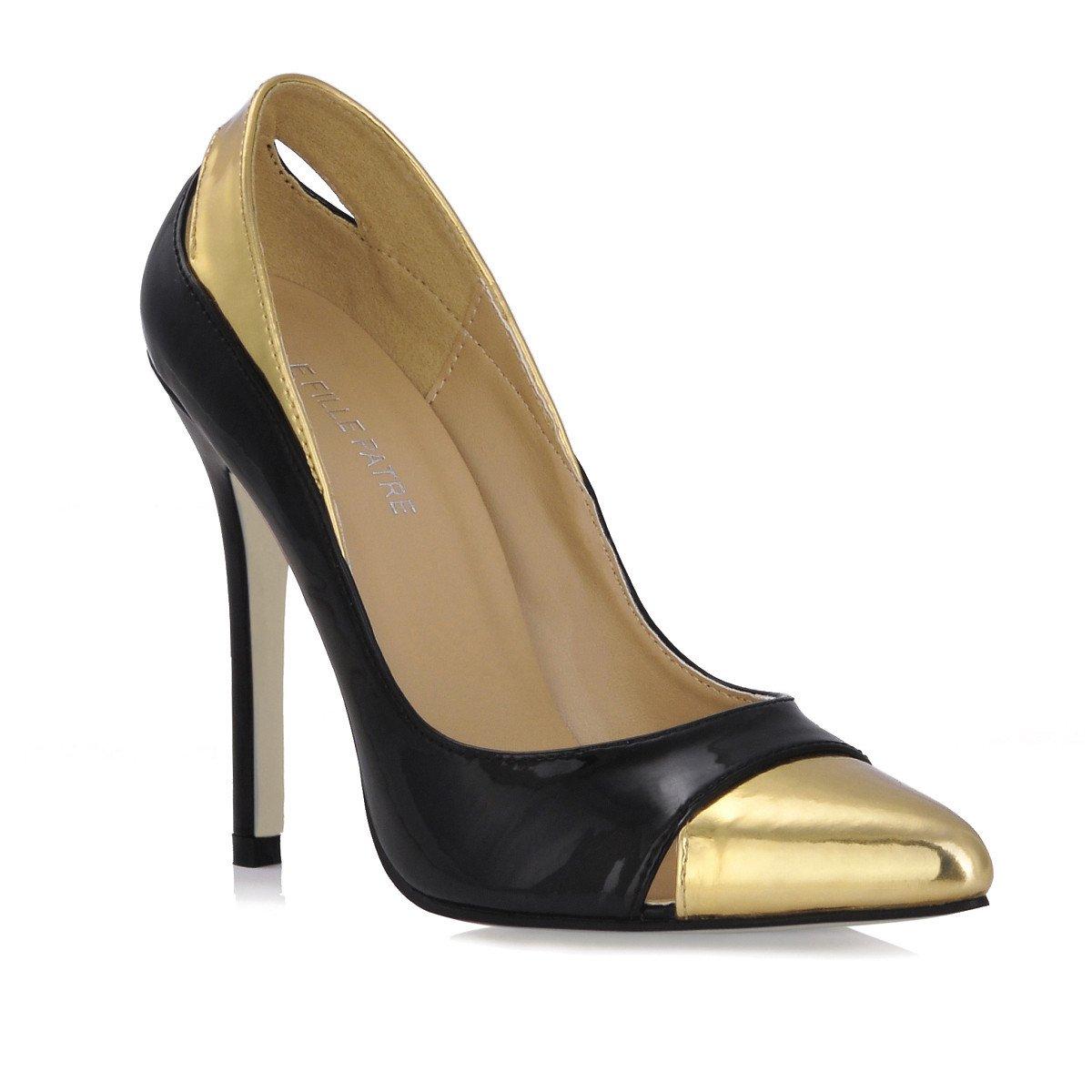 Frauen Schuhe Geschmack neues Licht Hafen große high-heel Schuhe schwarz Gold lackiert Leder OL Schuh hingewiesen