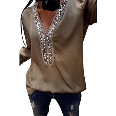 OdeJoy Mode Damen Beiläufig Sexy Pailletten Langeärmel Oberteile V  Ausschnitt Bluse T Shirt Irregulär Schwarz Hemd Einfarbig Langarmshirt Lose  Tops Casual ... df001703a1