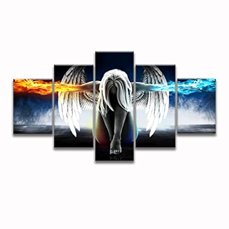 5 Pcs Angel With Fire Ice Wings Modern Abstract Painting Art Picture Print On Canvas For Living Room Bedroom Wall Home Decoration Unframed