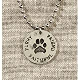 US Gifts Grateful Heart- Silver with Paw Print Necklace on Silver Chain (Pack of 2)