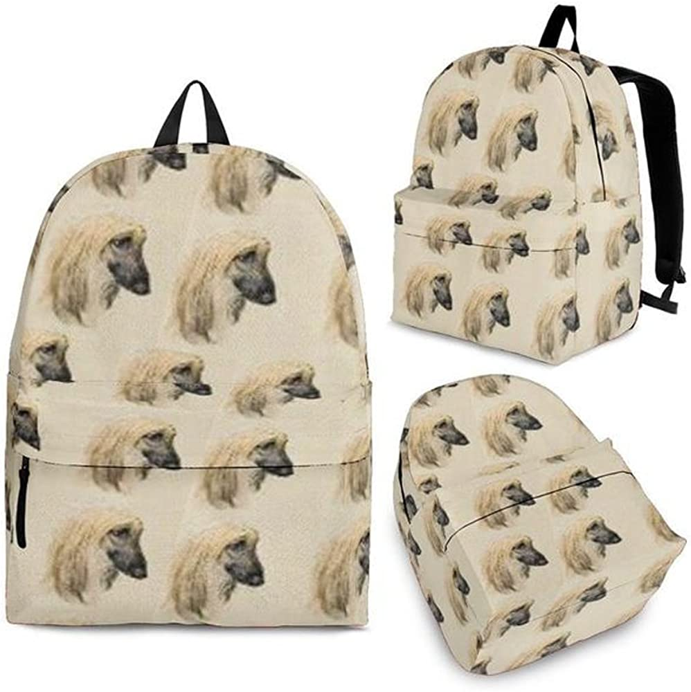 Afghan Hound Print Backpack Set For Kids and Girls