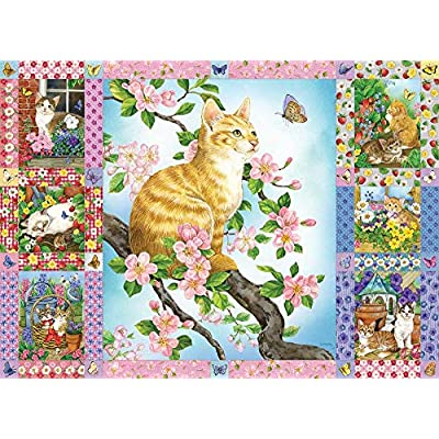 Cobble Hill Puzzles Blossoms and Kittens Quilt 1000 Piece Animals & Wildlife Jigsaw Puzzle: Toys & Games