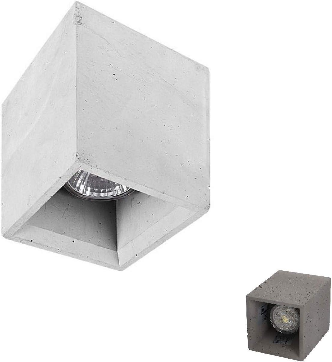 Foco GU10 LED de techo cubo sin empotrar cemento bruto gris para interiores: Amazon.es: Iluminación