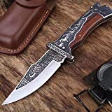 ENNSUN Limited Edition Carved Totem Folding Knife Stainless Steel Camping Knife & Tactical Knife Super Elegant for Men