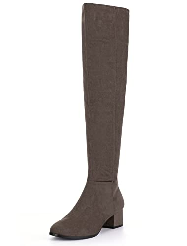 f6350e2e52f Allegra K Women s Block Heel Over The Knee Boots (Size US 6) Dark Brown