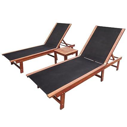 Festnight 3 Pcs Garden Sun Loungers Set Wood Day Bed Folding Sun