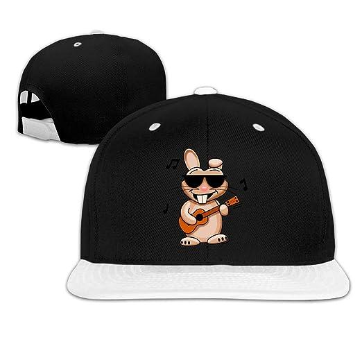 e416aad52 Cool Rabbit with Ukulele Hip Hop Snapback Baseball Cap Adjustable ...