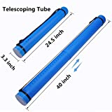 AOFITEE Plastic Poster Tube with Adjustable Strap - Waterproof Storage Tube Expandable Carrying Case for Documents Blueprints Artworks - 40 inches in Length Fully Extended