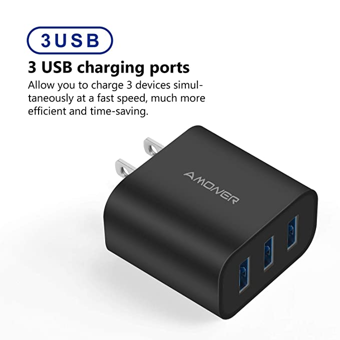 Amoner Wall Charger, Upgraded 2Pack 15W 3-Port USB Plug Cube Portable Wall Charger Plug for iPhone Xs/XS Max/XR/X/8/7/6/Plus, iPad Pro/Air 2/Mini 2, ...