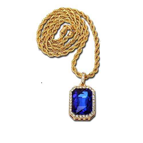 a03d78e8ba7a6 Lauren Annabelle Studio 14K Gold Plate Iced Out Hip Hop Sapphire Gem  Jewelry, Bling Bling Pendant Necklace for Men 30