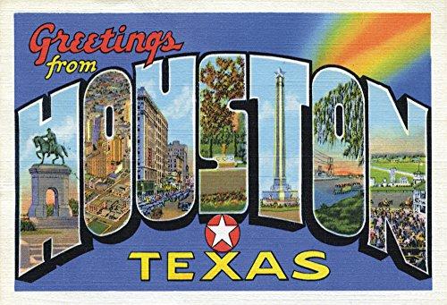 Greetings from Houston Texas, Postcard Art, TX, Souvenir Magnet 2 x 3 Fridge Photo - Pictures Airport Houston