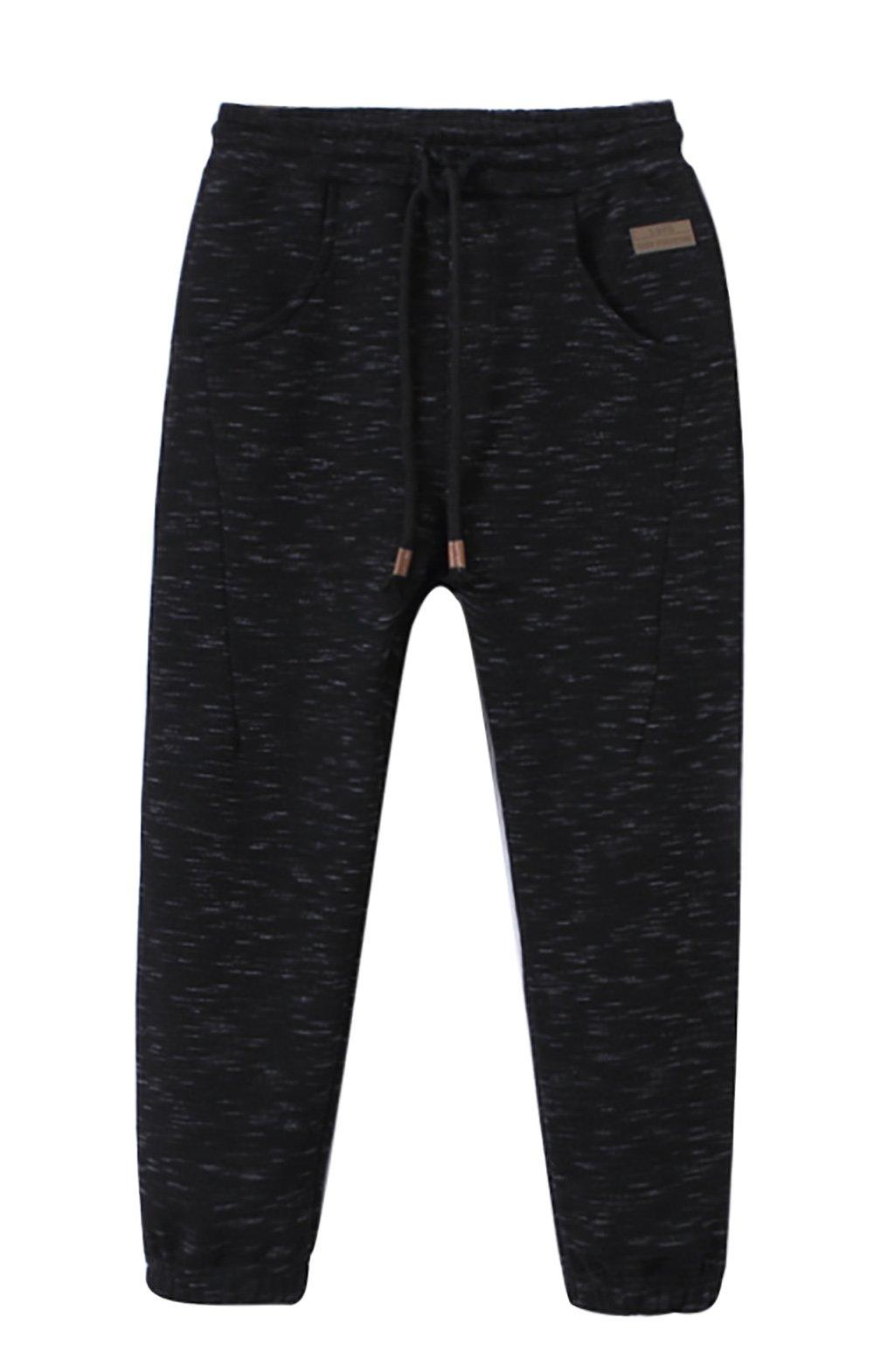 Zegoo Boy's Pull On Black Jogger Pants Slim Fit Skinny Running Trousers