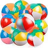 D-FantiX インフレータブルビーチボールクラシックレインボーカラーバースデープールパーティーは夏の水のおもちゃ楽しいプレイビーチボールゲーム子供男の子女の子のために8から12インチからあまりにも膨らんだから収縮(10 PCS)