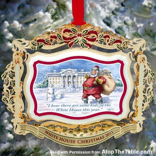 2011 White House Christmas Ornament, Santa Visits The White House