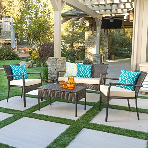 Tahiti Patio Furniture 4 Piece Outdoor Wicker Chat Set with Dark Cream Water Resistant Fabric Cushions (Brown)