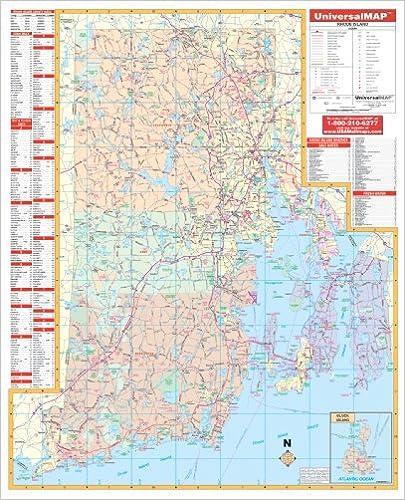 Amazon.com: Rhode Island State Wall Map - 46x56 - Laminated on ...