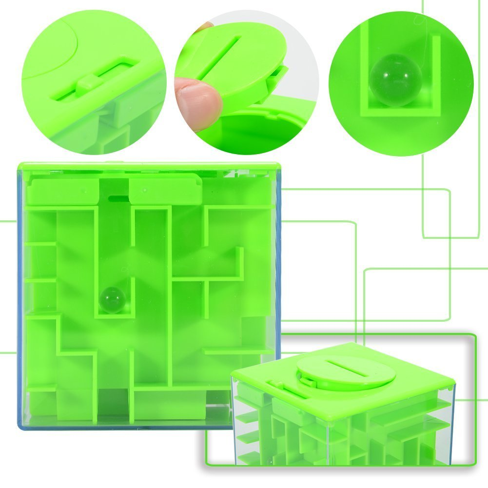 3D Three-dimensional Money Maze Puzzle Box, Eschone Unique Piggy Bank Money Toy Gift Holder Box, Fun Maze Puzzle Games for Kids Adult Birthday Christmas Gifts Home School Early Education (Green)