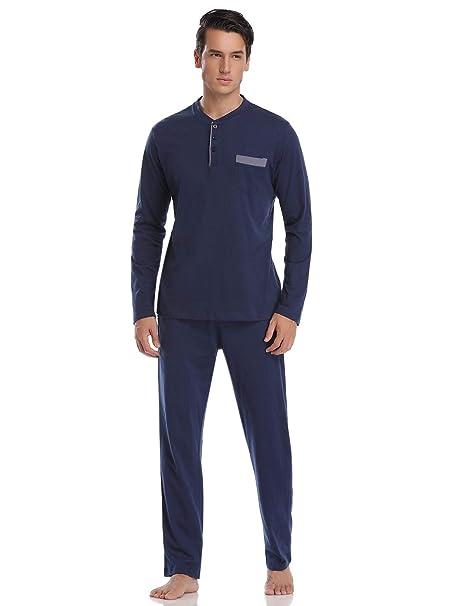 d2ee6fe1f Abollria Pijamas Hombre Algodón 2 Piezas Mangas Larga Pantalon Largo  Invierno Cómodo y Agradable