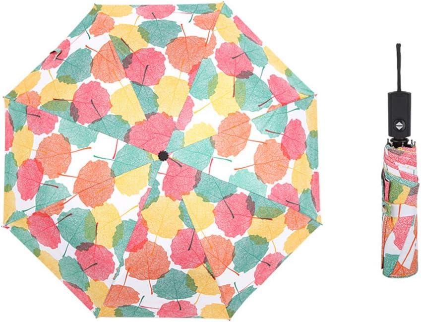 JUNDY Paraguas Compacto y Resistente al Viento, Paraguas Plegable, Conveniente para Viajes Paraguas de plástico Negro Completamente automático Paraguas Plegable de Arce colour4 90cm: Amazon.es: Hogar