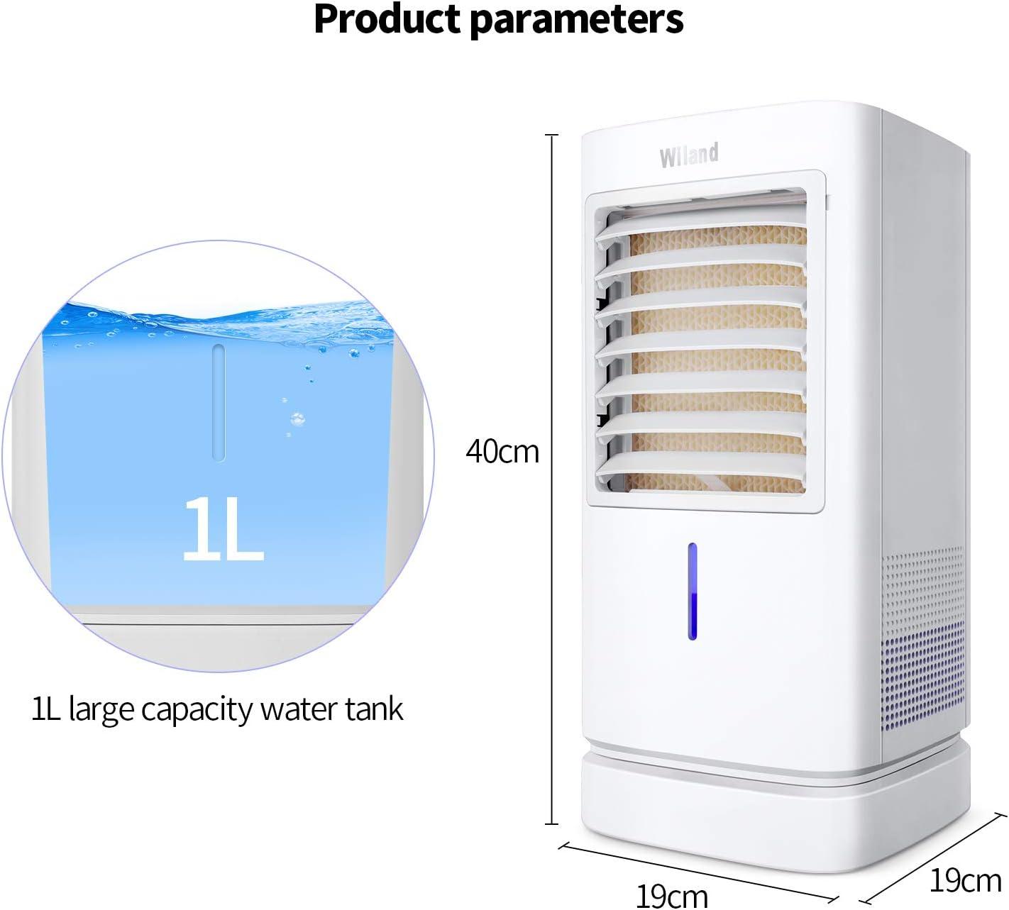 Mobiles Klimaanlage ColdMan Klimager/ät Luftk/ühler mit Ventilator Leise Luftbefeuchter Air Cooler mit Timer Funktion f/ür Arbeitsplatz und Zuhause 90 W 1-Liter Kapazit/ät Turmventilator