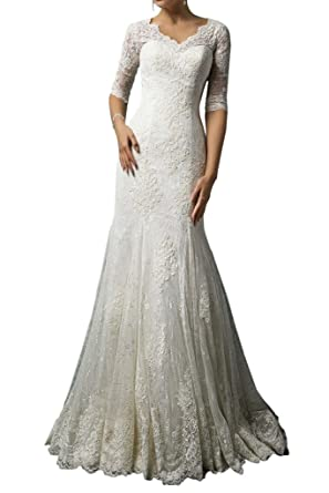 Milano Bride Modest Wedding Dress For Bride Lace 1 2 Sleeves V Neck Sheath