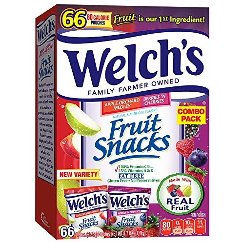 Welch's Apple Orchard Medley and Berries 'n Cherries Fruit Snacks, 0.9 Ounce (66 Count)