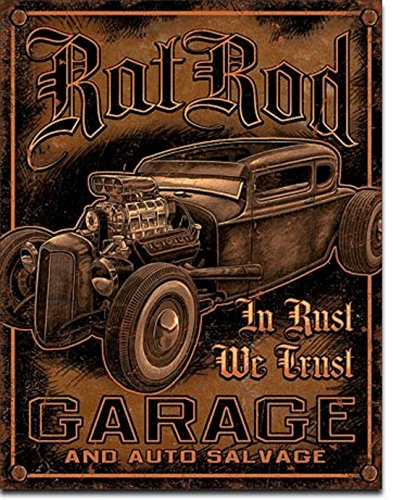 "RAT ROD GARAGE "" in Rust WE Trust HOT RODS V8 Muscle CAR 12.5"" X16"" Metal Sign"