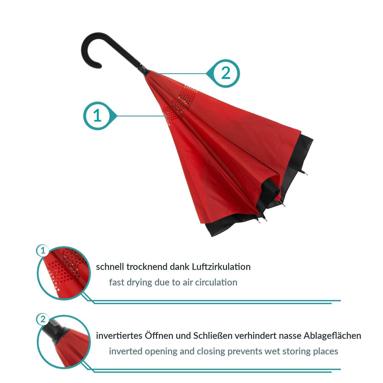 Baciami Paraguas Invertido de Doble Capa ⌀ 98cm Paraguas Inverso Reversible de Colores Negro-Gris