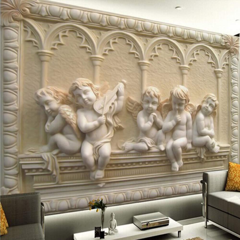 Gewohnheit Irgendeine Größe 3D Wandbild Tapete 3D Stereoskopische Engel Carving Relief Wohnzimmer Sofa Hintergrund Nahtlose Wandbild Papier, 350 * 256
