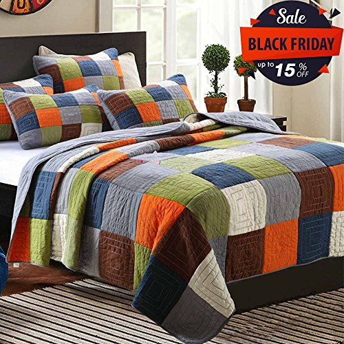 Cotton Patchwork Quilt Bedspread Set Queen Size Checkered Printed Quilt Set Reversible Coverlet Set Adults Kids Boys Girls Bed Quilt Set Luxury Winter Quilt Comforter Set, Wrinkle Resistant, Style1 by FashionStreets