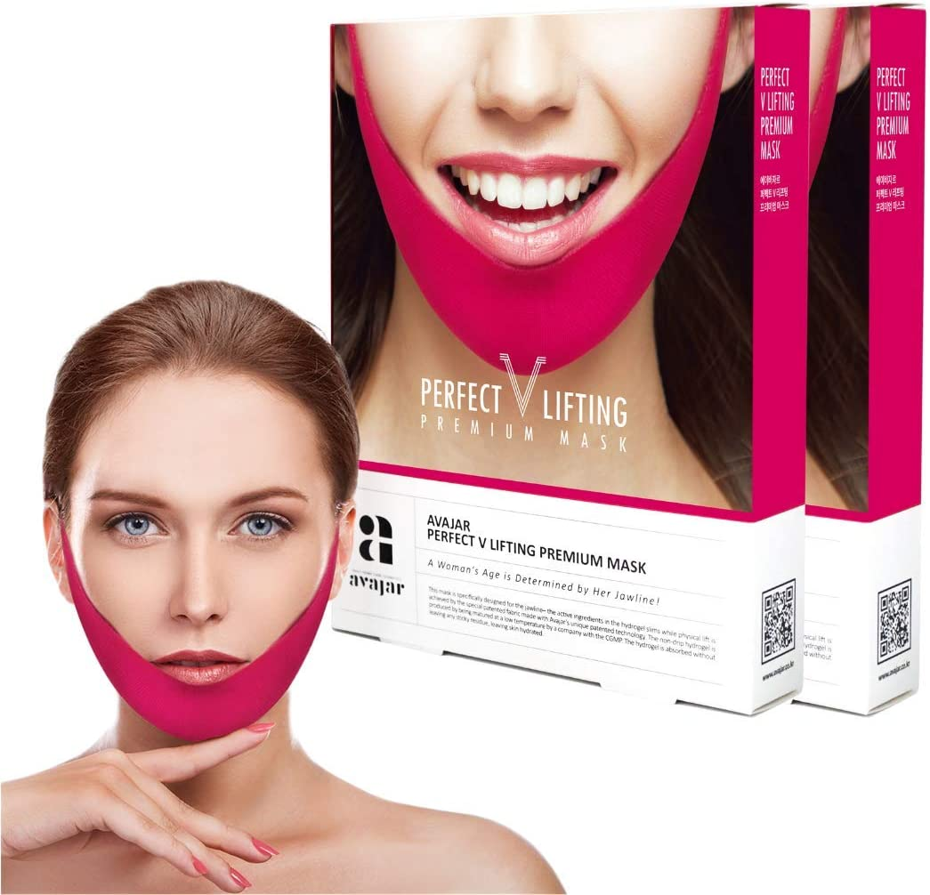 Avajar Perfect V Lifting Premium Mask 10pcs - V Line Mask | Face Lifting Mask | Face Slimmer | Chin Strap For Double Chin Remover | V Shaped Slimming Face Mask | Double Chin Mask