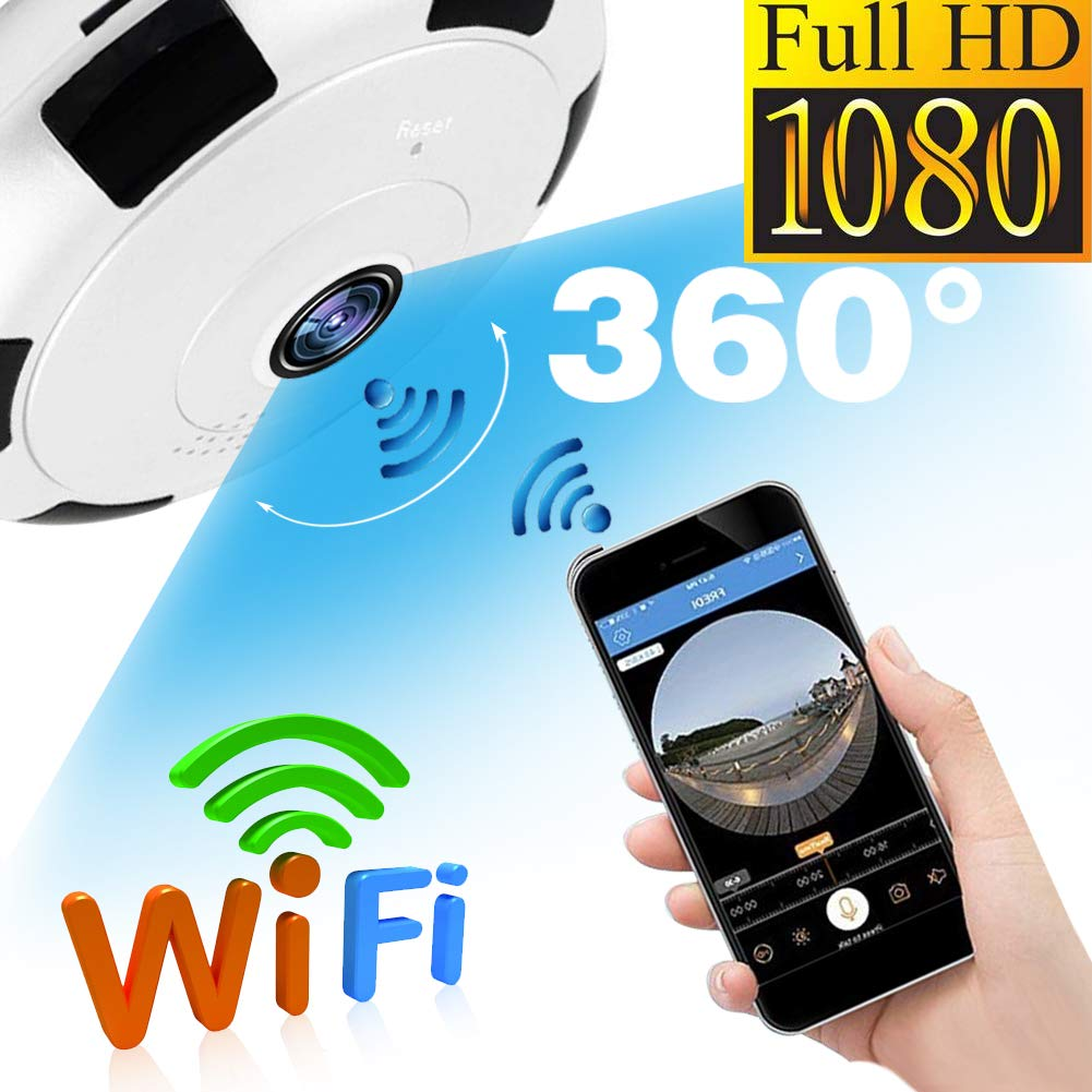 Smart Home Security WiFi IP Camera 360 Degree Camera Wireless Surveillance System 1080p Full HD Wide Angle Fisheye, Night Vision for Home/Office / Baby/Nanny / Pet Monitor Cam with iOS, Android App
