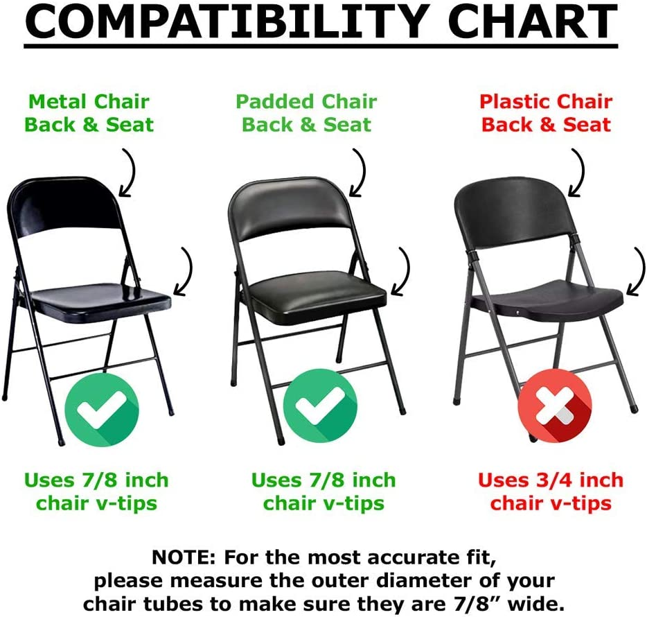 Non-Marring Round Hardwood Floor Protectors - Heavy Duty Nylon Chair End Caps 12 Pack Compatible Replacement Plugs for Metal /& Padded Folding Chairs Tips Navy Blue 7//8 Inch Folding Chair Leg Caps