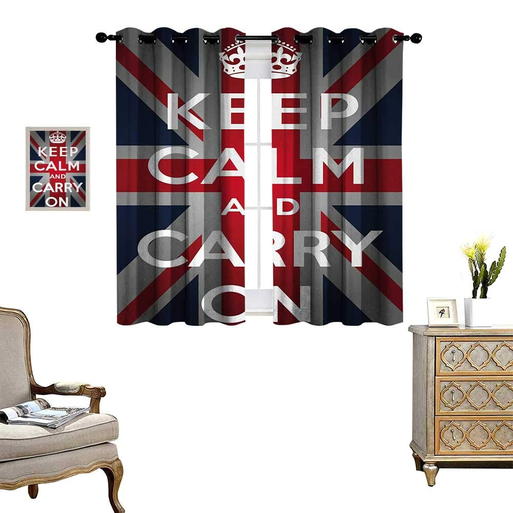Anyangeight Union Jack Window Curtain Drape Keep Calm and Cary On Quote Crown Figure United Kingdom Britain Flag Decorative Curtains for Living Room W63 x L72 Navy Blue Red White