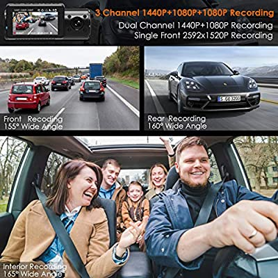 Vantrue N4 Triple Lens Dash Cam 3 Channel 1440P Front, 1080P Inside, 1080P Rear Car Dash Camera with Infrared Night Vision, Super Capacitor, 24 Hours Parking Mode, Motion Detection, Support 256GB Max: Car Electronics