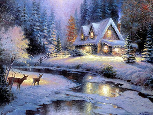 Van Eyck Printed Thomas Kinkade Snow Landscape Oil Painting Prints On Canvas Wall Art Picture For Living Room Home Decorations Framed
